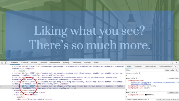 """Browser Inspector Tool in Chrome — Find the section's ID (e.g. id=""""post-2634"""")"""